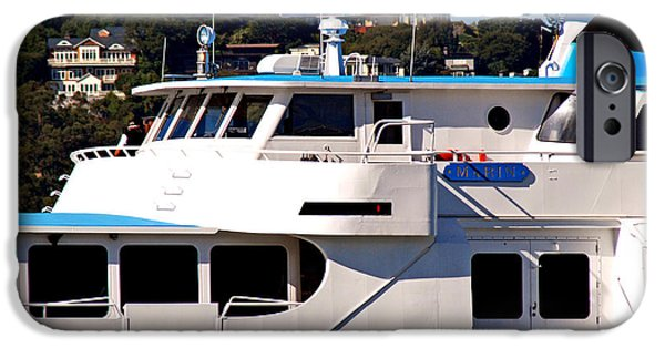 Sausalito Digital Art iPhone Cases - Yacht On Ocean Sausalito California iPhone Case by DeAnna Denise Adams
