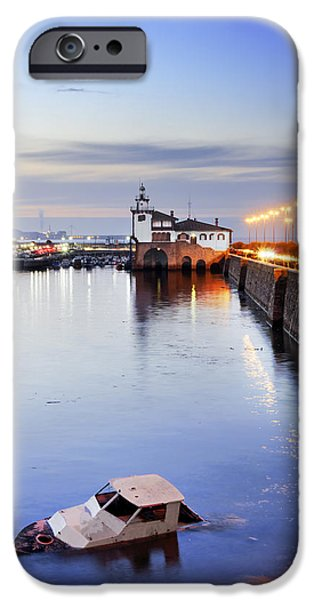 Rust iPhone Cases - Yacht wreck on Getxo pier. Basque Country iPhone Case by Mikel Martinez de Osaba