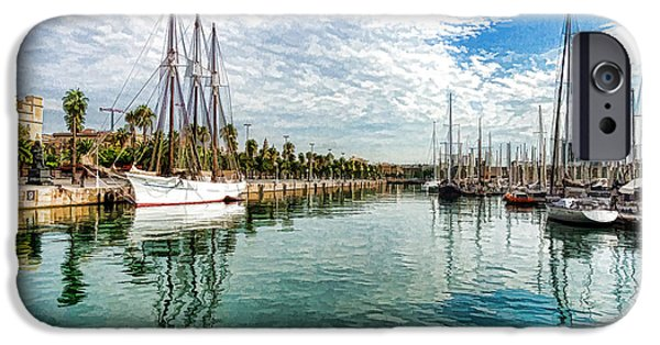 Tall Ship iPhone Cases - Yachts and Palm Trees - Impressions of Barcelona iPhone Case by Georgia Mizuleva