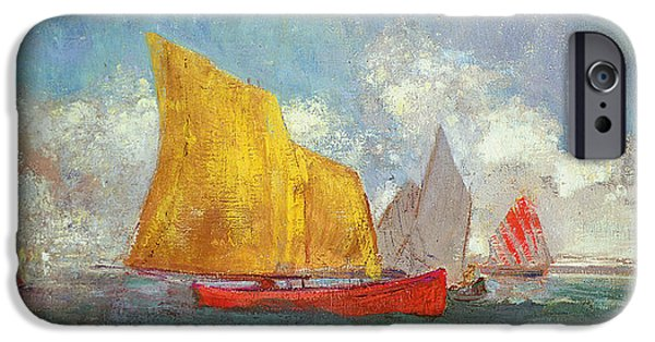 Sailboats In Harbor iPhone Cases - Yachts in a Bay iPhone Case by Odilon Redon