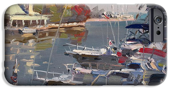 Autumn Landscape iPhone Cases - Yachts in Port Credit  iPhone Case by Ylli Haruni