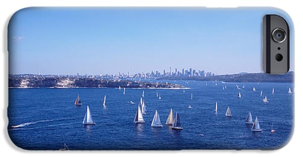 Sailboat Ocean iPhone Cases - Yachts In The Bay, Sydney Harbor iPhone Case by Panoramic Images
