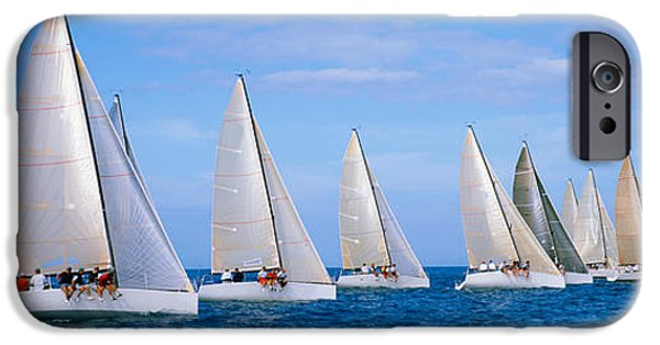 Sailboat Ocean iPhone Cases - Yachts In The Ocean, Key West, Florida iPhone Case by Panoramic Images