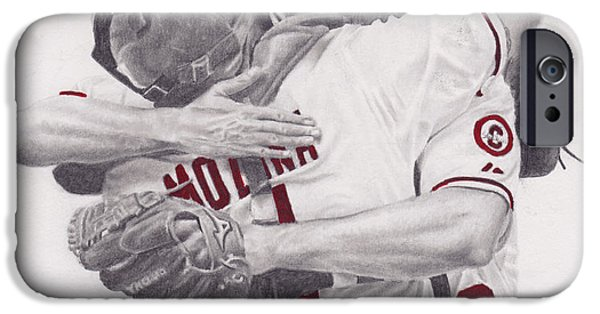 Mlb Drawings iPhone Cases - Yadi and Waino iPhone Case by Robert Douglas