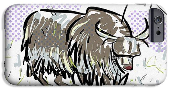 Yak Digital Art iPhone Cases - Yak iPhone Case by Brett LaGue