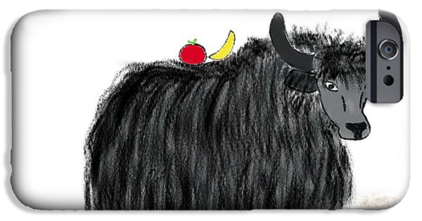 Yak Digital Art iPhone Cases - Yak Has a Snack iPhone Case by Gabrielle Kristine