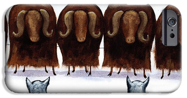 Animal Drawings iPhone Cases - Yak Line iPhone Case by Christy Beckwith