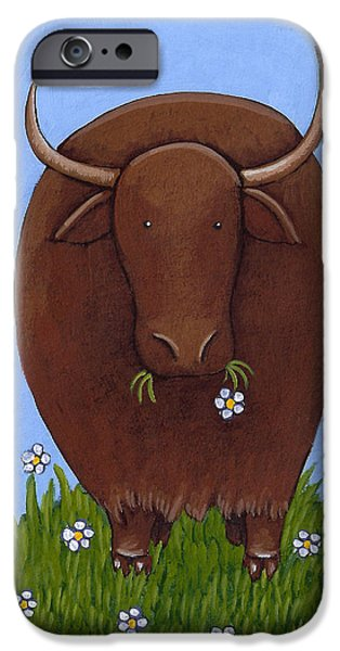 Farm Drawings iPhone Cases - Whimsical Yak Painting iPhone Case by Christy Beckwith