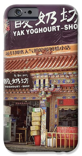 Business Photographs iPhone Cases - Yak Yoghourt Shop iPhone Case by Joan Carroll