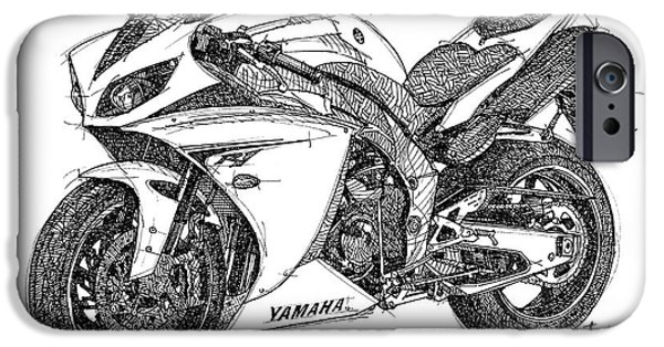 Ink On Paper iPhone Cases - Yamaha R1 iPhone Case by Pablo Franchi
