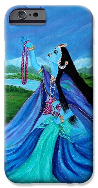 Hindu Goddess Paintings iPhone Cases - Yamuna Maharani iPhone Case by Parul Mehta
