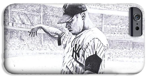 Baseball Stadiums Drawings iPhone Cases - Yankee Forever iPhone Case by Paul Smutylo