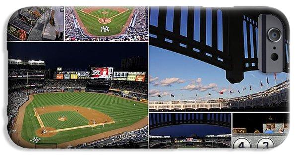 Upper Deck iPhone Cases - Yankee Stadium Collage iPhone Case by Allen Beatty