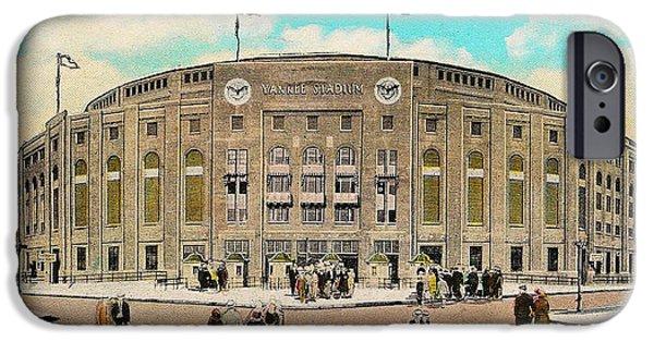 Baseball Stadiums Digital Art iPhone Cases - Yankee Stadium Postcard iPhone Case by Digital Reproductions