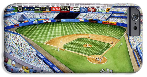 Baseball Stadiums Paintings iPhone Cases - Yankee Stadium - The House That Ruth Built iPhone Case by Mary Irwin