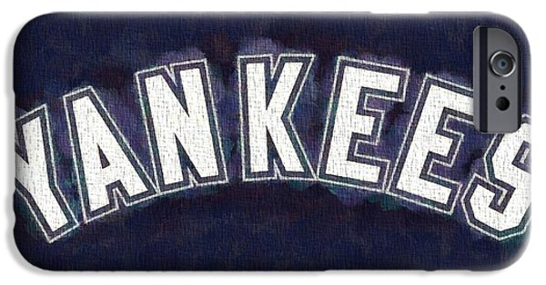 Mlb Mixed Media iPhone Cases - Yankees On Canvas iPhone Case by Dan Sproul