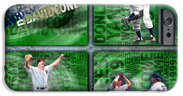 Baseball Uniform Mixed Media iPhone Cases - Yankees Perfect Game Combo Larsen Wells Cone iPhone Case by Tony Rubino