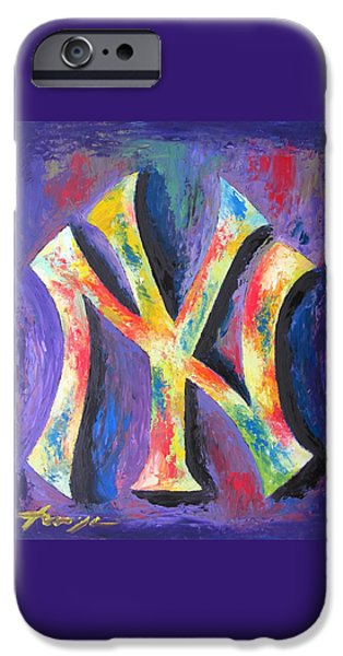 Baseball iPhone Cases - New York YANKEES Baseball iPhone Case by Dan Haraga