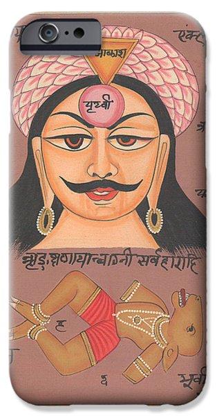 Tantrik Art iPhone Cases - Yantra Mantra Miniature Painting India Earth Artwork Artist Tantric Tantrik iPhone Case by A K Mundhra