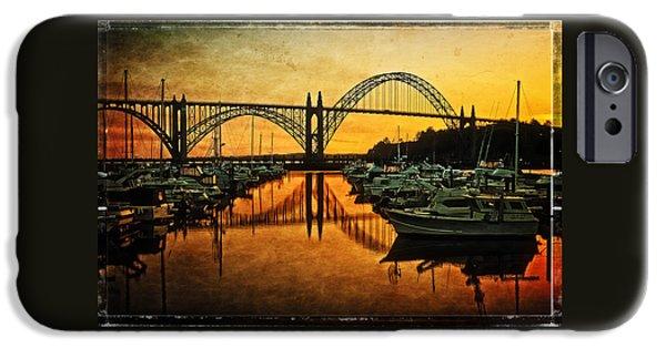 Bay Bridge iPhone Cases - Yaquina Bay Bridge At Sunset iPhone Case by Thom Zehrfeld