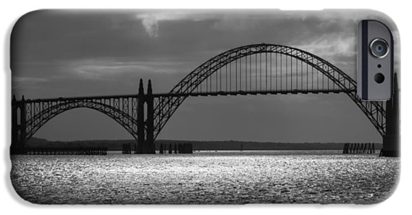 Bay Bridge iPhone Cases - Yaquina Bay Bridge Black And White iPhone Case by James Eddy