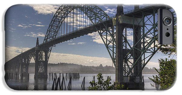 Bay Bridge iPhone Cases - Yaquina Bay Bridge iPhone Case by Mark Kiver