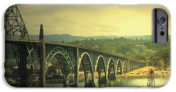 Bay Bridge iPhone Cases - Yaquina Bay Bridge Or iPhone Case by Joyce Dickens