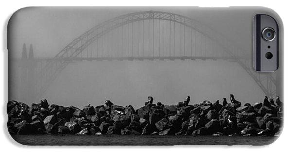 Fog Mist iPhone Cases - Yaquina Bay Bridge under Fog iPhone Case by Mark Kiver