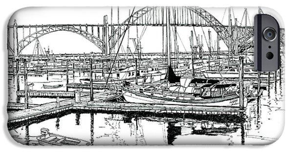 Bay Bridge iPhone Cases - Yaquina Bay Newport Oregon iPhone Case by Ira Shander
