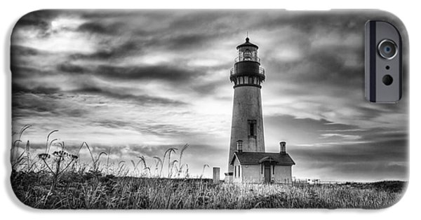 Headland iPhone Cases - Yaquina Head Lighthouse Black and White iPhone Case by Mark Kiver
