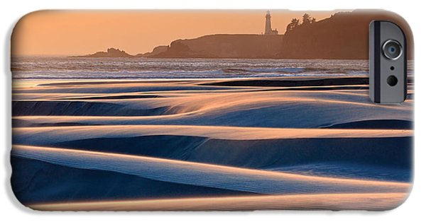 Agate Beach Oregon iPhone Cases - Yaquina Head Swirling Sands iPhone Case by Katherine Gendreau