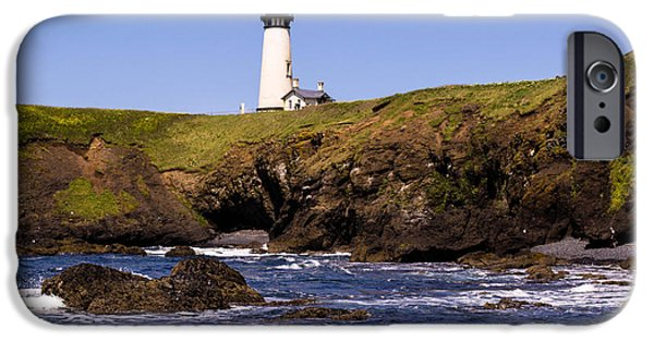 Lighthouse iPhone Cases - Yaquina Light house iPhone Case by Blanca Braun