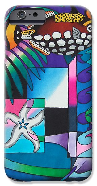 Triggerfish Paintings iPhone Cases - Yau Ni Viti VI iPhone Case by Maria Rova