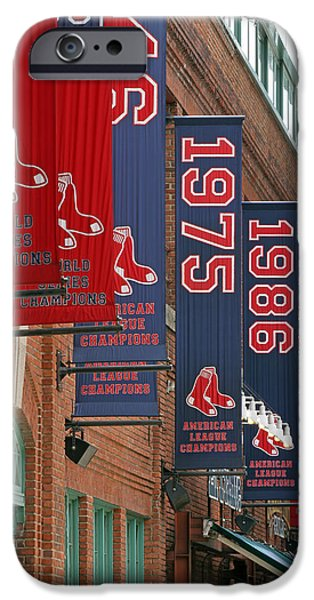 Red Sox iPhone Cases - Yawkey Way Red Sox Championship Banners iPhone Case by Juergen Roth