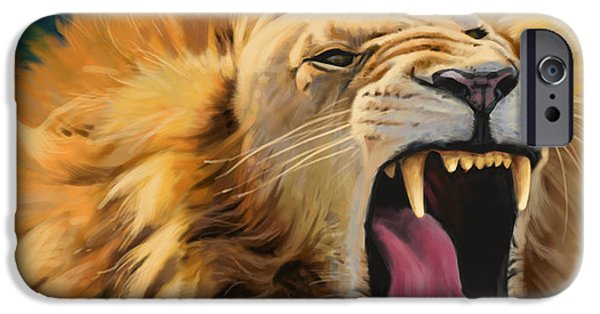Lion Digital Art iPhone Cases - Yawning Lion iPhone Case by Aaron Blaise