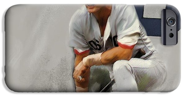 Red Sox Drawings iPhone Cases - Yaz   Carl Yastrzemski iPhone Case by Iconic Images Art Gallery David Pucciarelli