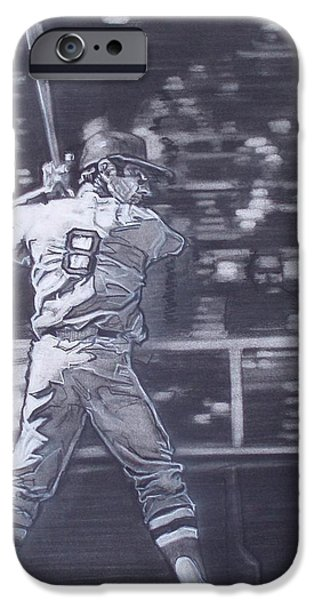Baseball Uniform Drawings iPhone Cases - Yaz - Carl Yastrzemski iPhone Case by Sean Connolly
