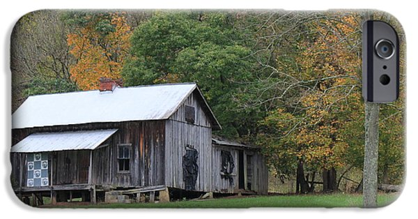 Cabin Window iPhone Cases - Ye old cabin in the fall iPhone Case by Jennifer Doll