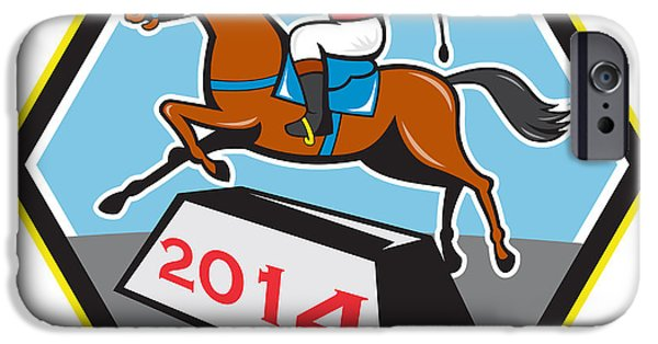Year Of The Horse iPhone Cases - Year of Horse 2014 Jockey Jumping Cartoon iPhone Case by Aloysius Patrimonio