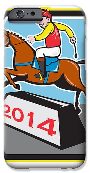 Year of Horse 2014 Jockey Jumping Cartoon iPhone Case by Aloysius Patrimonio