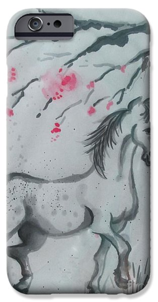 Year Of The Horse iPhone Cases - Year of the Horse 1 iPhone Case by Lynn Maverick Denzer