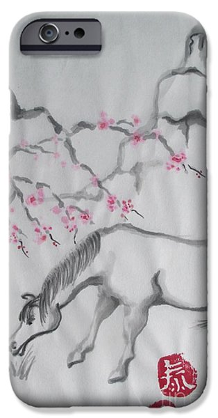 Year Of The Horse iPhone Cases - Year of the Horse 2 iPhone Case by Lynn Maverick Denzer