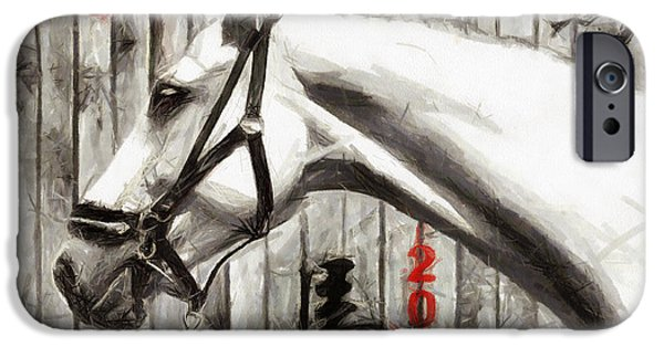 Year Of The Horse iPhone Cases - Year of the Horse - drawing iPhone Case by Daliana Pacuraru