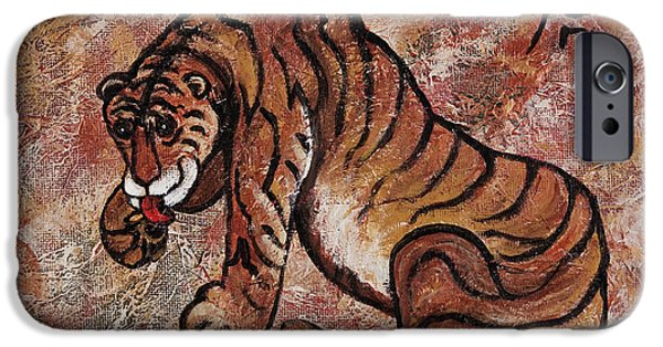 The Tiger Paintings iPhone Cases - Year Of The Tiger iPhone Case by Darice Machel McGuire
