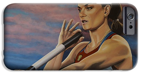 Concentration iPhone Cases - Yelena Isinbayeva   iPhone Case by Paul Meijering