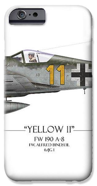 Yellow 11 Focke-Wulf FW 190 - White Background iPhone Case by Craig Tinder