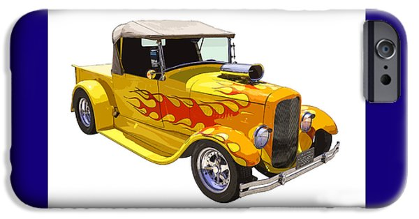Custom Made iPhone Cases - Yellow 1928 Hotrod Pickup Truck  iPhone Case by Keith Webber Jr