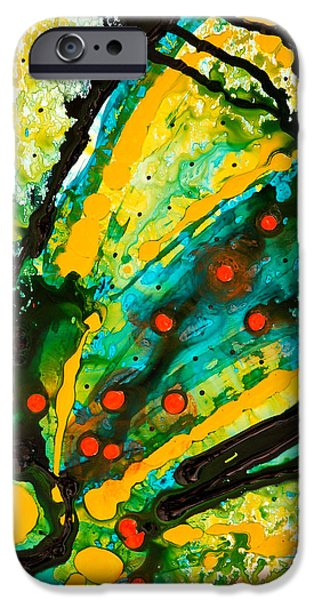 Yellow iPhone Cases - Yellow Abstract iPhone Case by Sharon Cummings