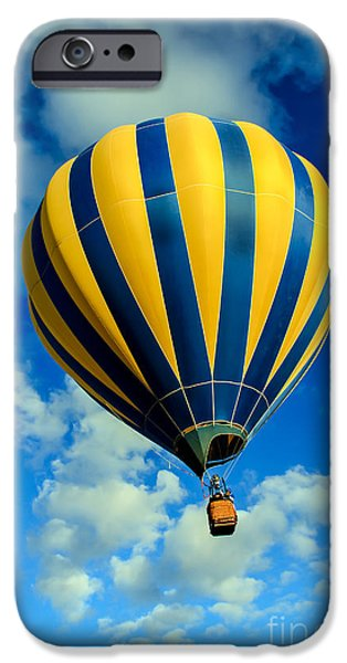 Colorado River Crossing iPhone Cases - Yellow And Blue Striped Hot Air Balloon iPhone Case by Robert Bales