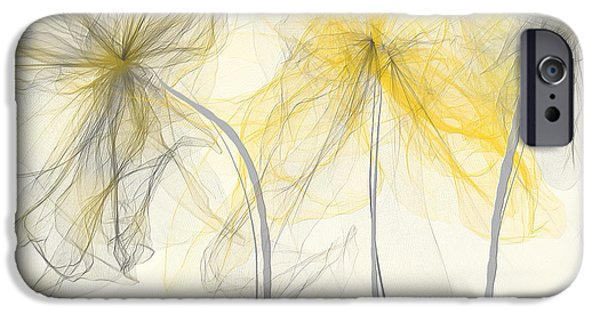 Yellow And Grey Abstract Art iPhone Cases - Yellow And Gray Flowers Impressionist iPhone Case by Lourry Legarde